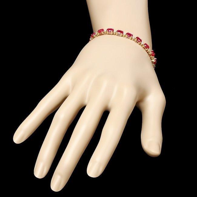 14k Yellow Gold 12ct Ruby 0.55ct Diamond Bracelet - 3