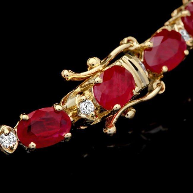 14k Yellow Gold 12ct Ruby 0.55ct Diamond Bracelet - 5