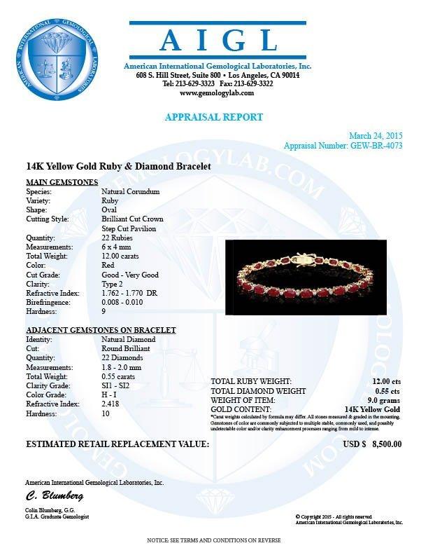 14k Yellow Gold 12ct Ruby 0.55ct Diamond Bracelet - 6