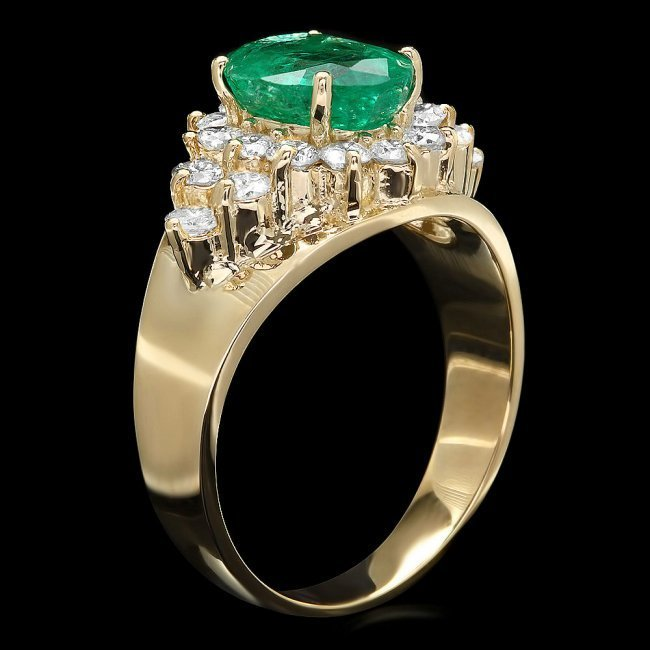 14k Gold 1.70ct Emerald 0.90ct Diamond Ring - 2