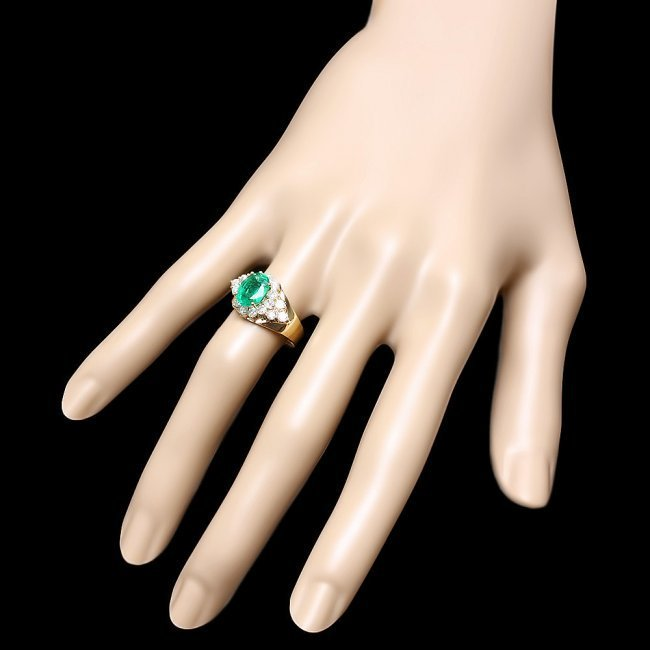 14k Gold 1.70ct Emerald 0.90ct Diamond Ring - 3