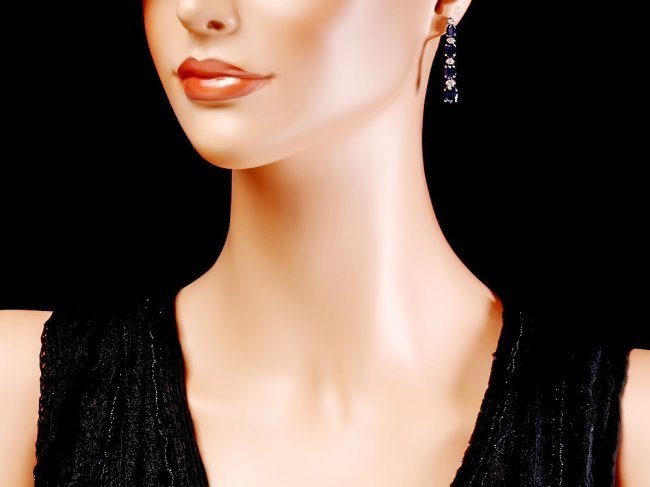 14k Gold 8ct Sapphire 0.30ct Diamond Earrings - 4