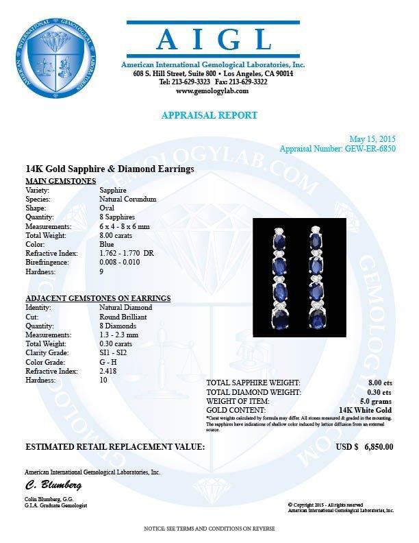 14k Gold 8ct Sapphire 0.30ct Diamond Earrings - 5