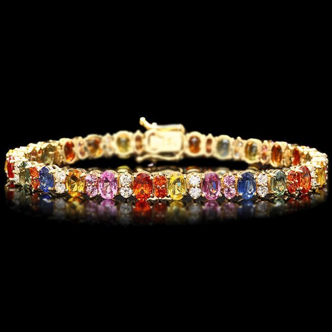 14k Y Gold 18ct Sapphire 1.80ct Diamond Bracelet