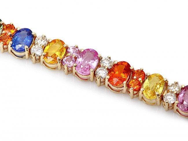 14k Y Gold 18ct Sapphire 1.80ct Diamond Bracelet - 2