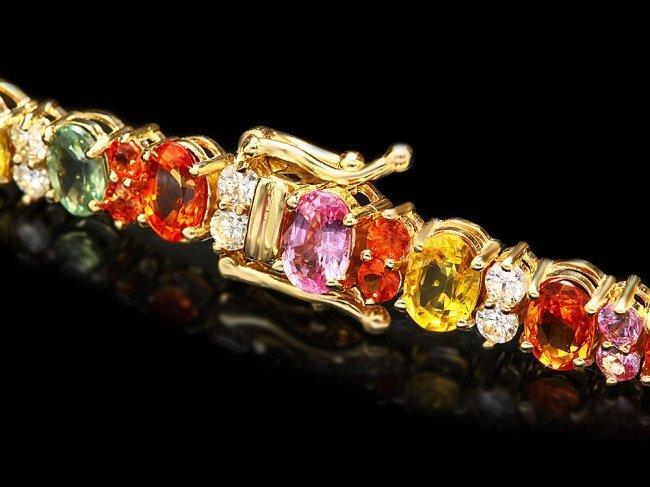 14k Y Gold 18ct Sapphire 1.80ct Diamond Bracelet - 3