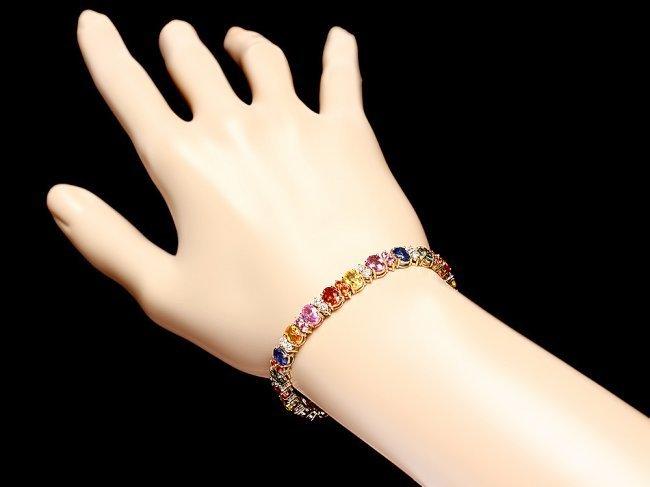 14k Y Gold 18ct Sapphire 1.80ct Diamond Bracelet - 5