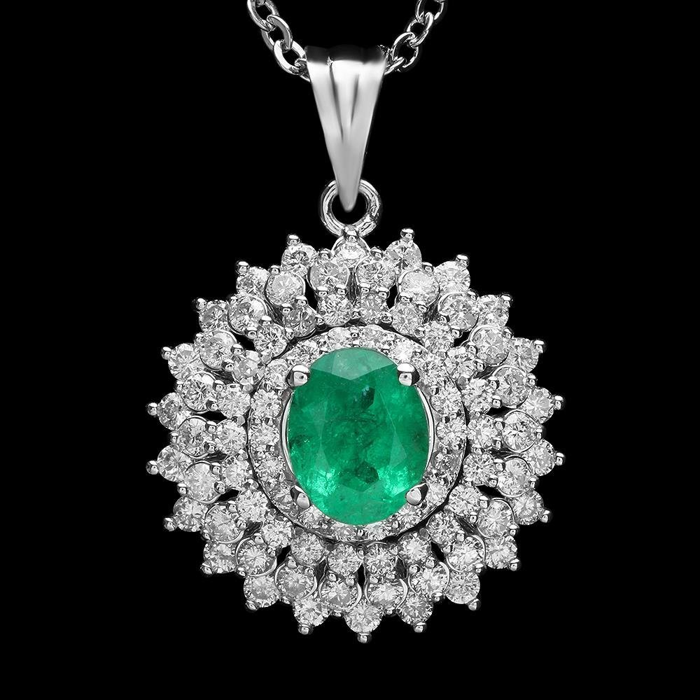 18K Gold 1.14ct Emerald 1.40ct Diamond Pendant
