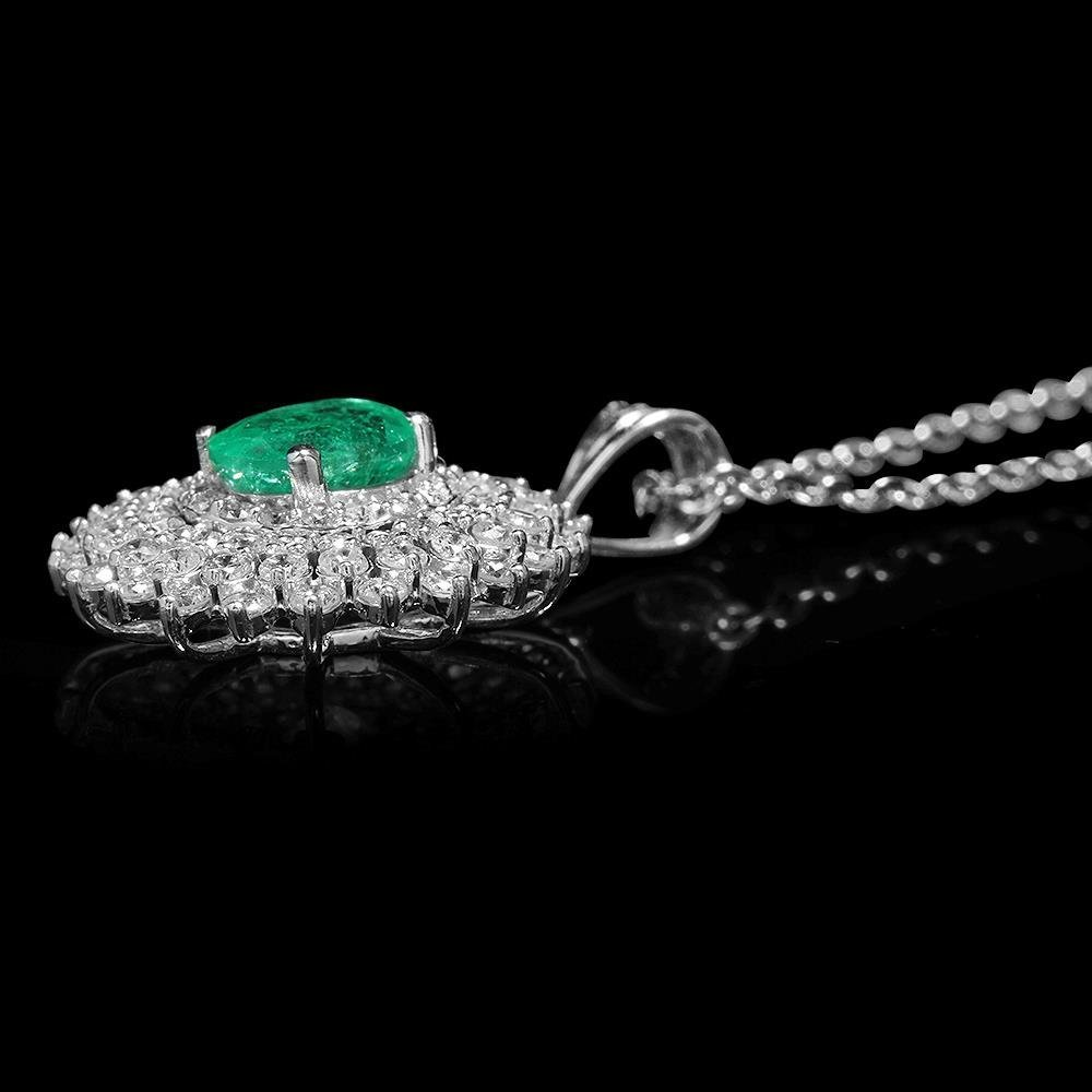 18K Gold 1.14ct Emerald 1.40ct Diamond Pendant - 2