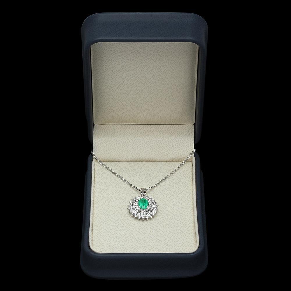18K Gold 1.14ct Emerald 1.40ct Diamond Pendant - 3