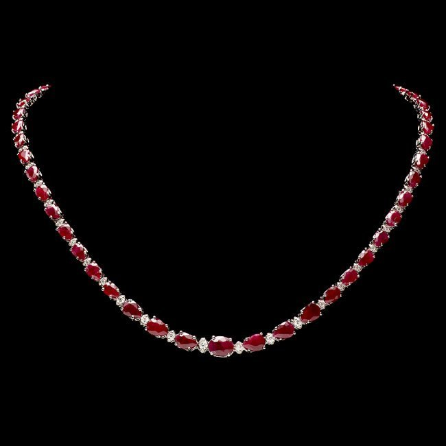 14k Gold 28.50ct Ruby 1.00ct Diamond Necklace