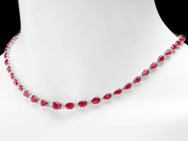 14k Gold 28.50ct Ruby 1.00ct Diamond Necklace - 3