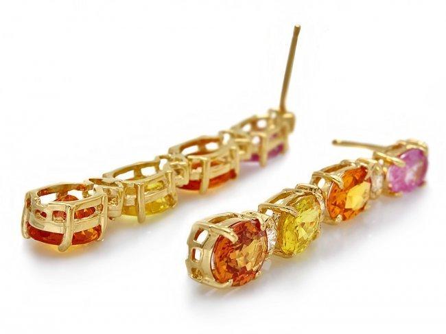14k Gold 8ct Sapphire 0.40ct Diamond Earrings - 2