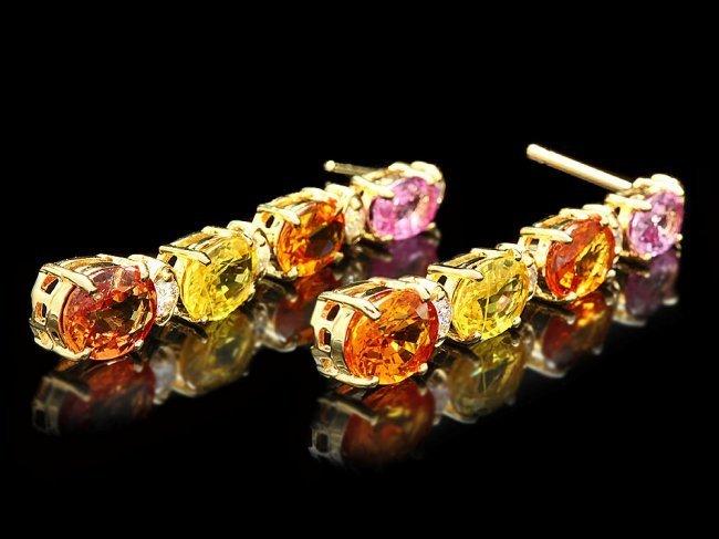 14k Gold 8ct Sapphire 0.40ct Diamond Earrings - 3
