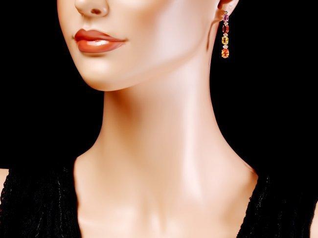 14k Gold 8ct Sapphire 0.40ct Diamond Earrings - 4