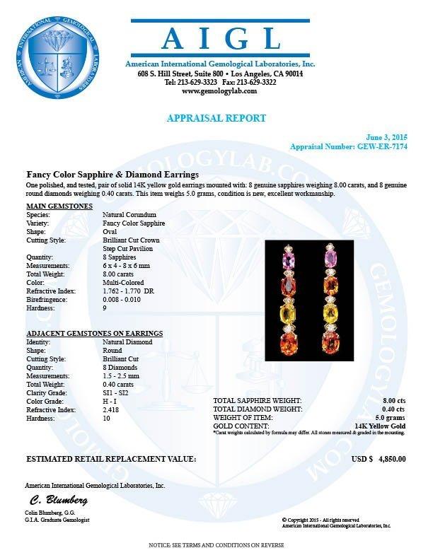 14k Gold 8ct Sapphire 0.40ct Diamond Earrings - 5