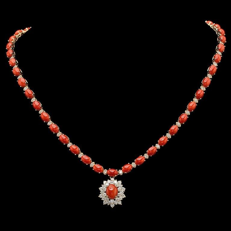 14K Gold 30.93ct Coral & 2.85ct Diamond Necklace