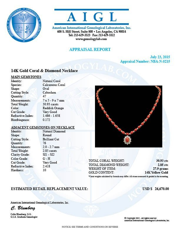 14K Gold 30.93ct Coral & 2.85ct Diamond Necklace - 4