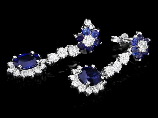 14k Gold 3.15ct Sapphire 2.00ct Diamond Earrings - 2