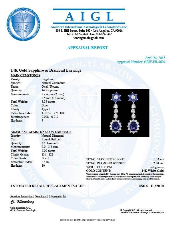 14k Gold 3.15ct Sapphire 2.00ct Diamond Earrings - 3