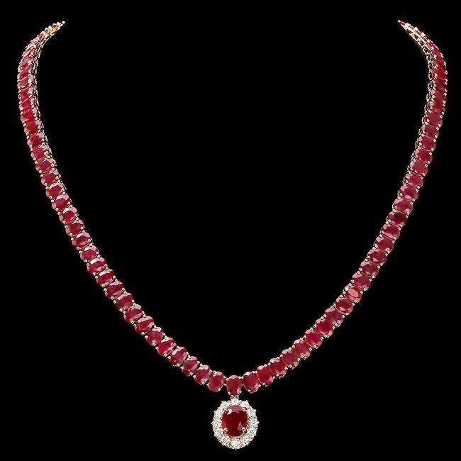 14k Yellow Gold 58.5ct Ruby 1ct Diamond Necklace