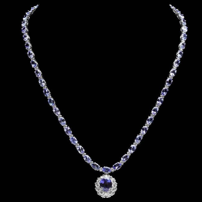 14k Gold 25.5ct Tanzanite 3.00ct Diamond Necklace - 2