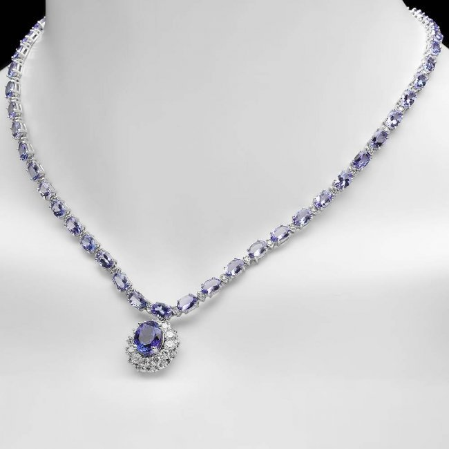 14k Gold 25.5ct Tanzanite 3.00ct Diamond Necklace - 4