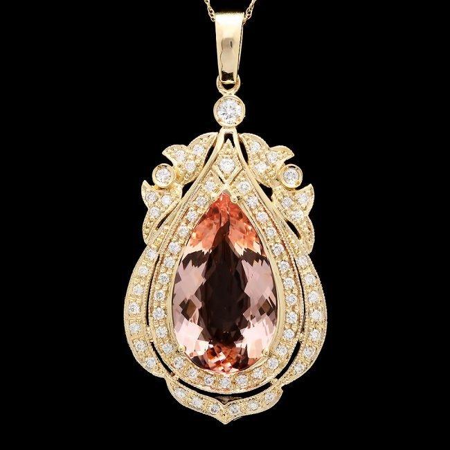 14k Solid 14ct Morganite 1.45ct Diamond Pendant