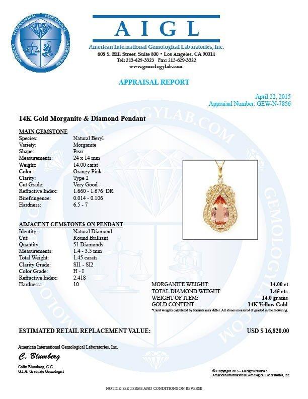 14k Solid 14ct Morganite 1.45ct Diamond Pendant - 4