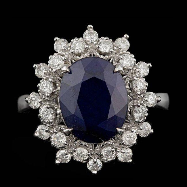14k Gold 3.50ct Sapphire 0.70ct Diamond Ring