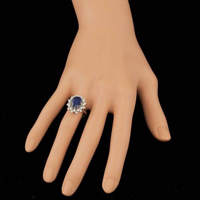 14k Gold 3.50ct Sapphire 0.70ct Diamond Ring - 4