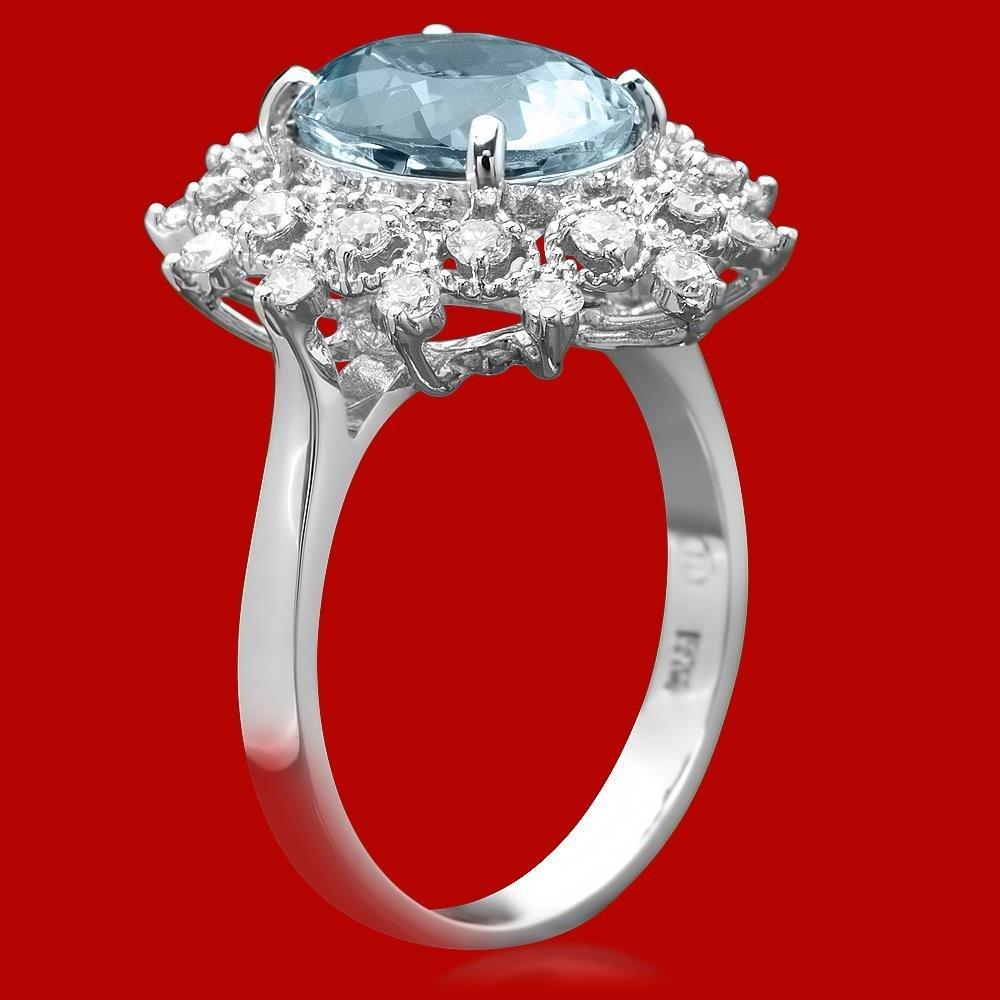 14k Gold 3.23ct Aquamarine 0.65ct Diamond Ring - 2