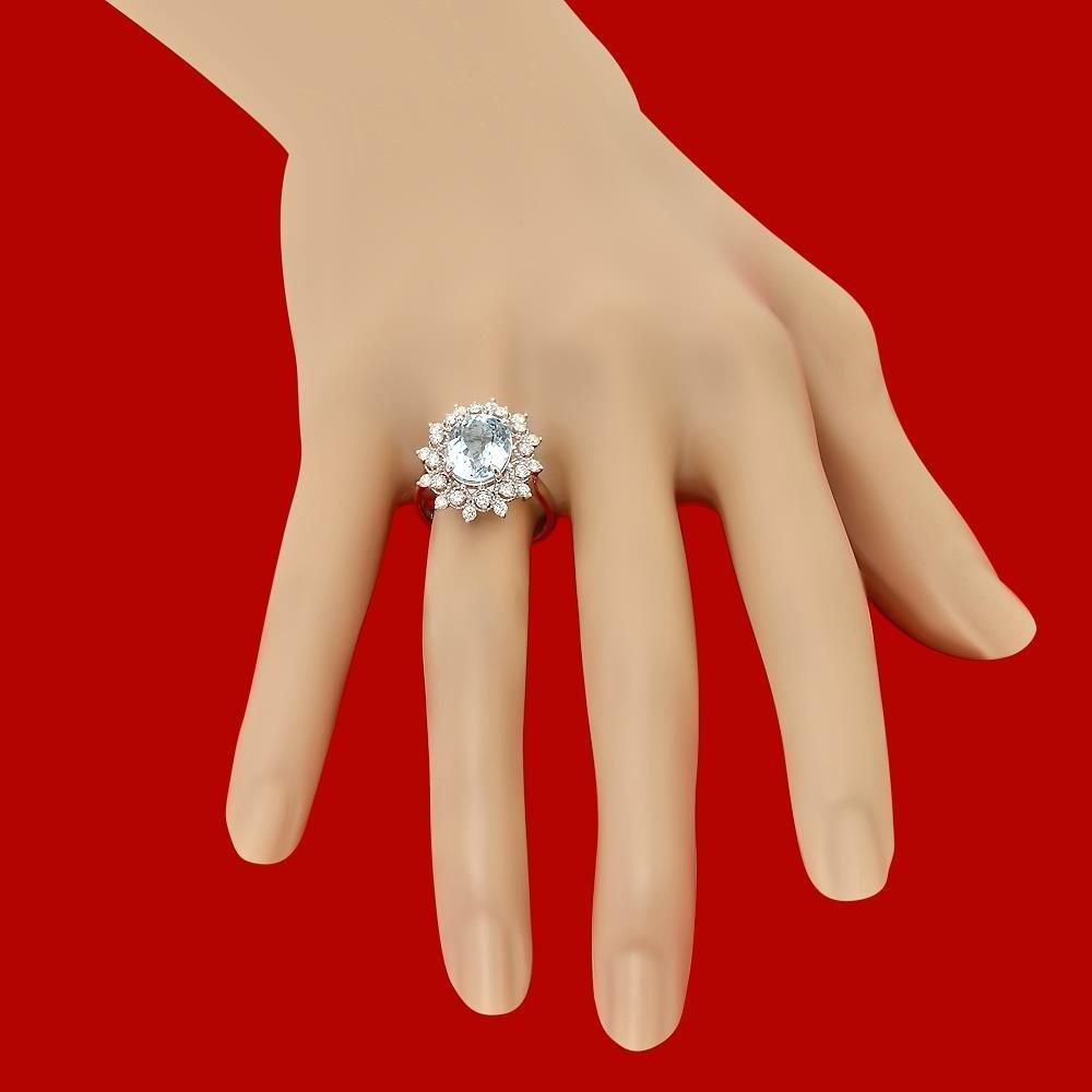 14k Gold 3.23ct Aquamarine 0.65ct Diamond Ring - 3