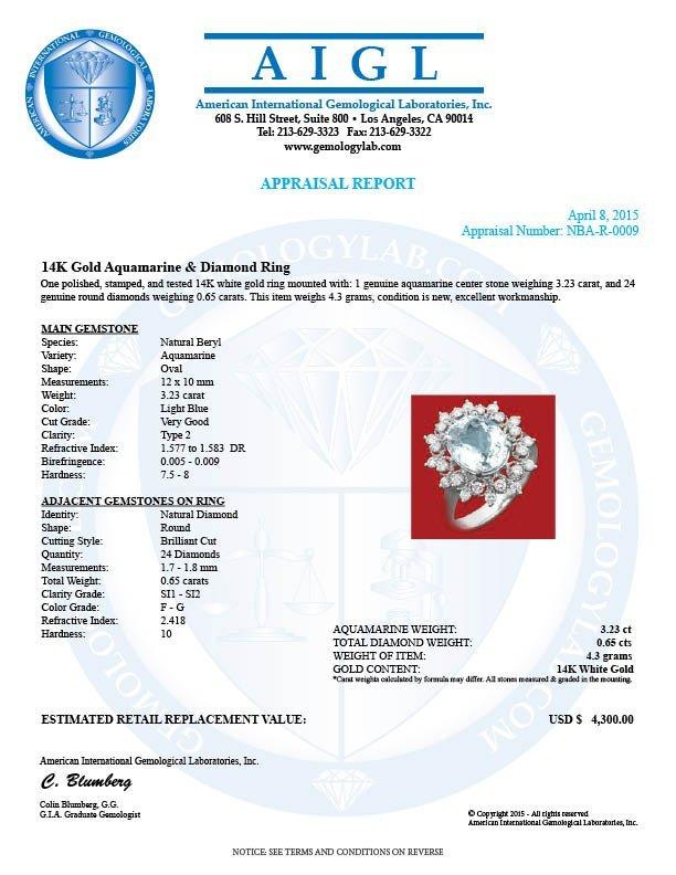 14k Gold 3.23ct Aquamarine 0.65ct Diamond Ring - 4