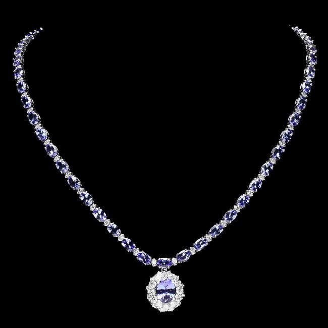 14k Gold 25.5ct Tanzanite 3.00ct Diamond Necklace