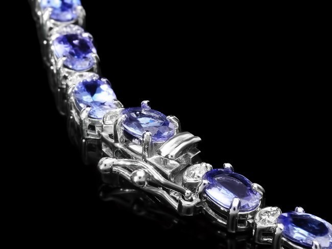 14k Gold 25.5ct Tanzanite 3.00ct Diamond Necklace - 3