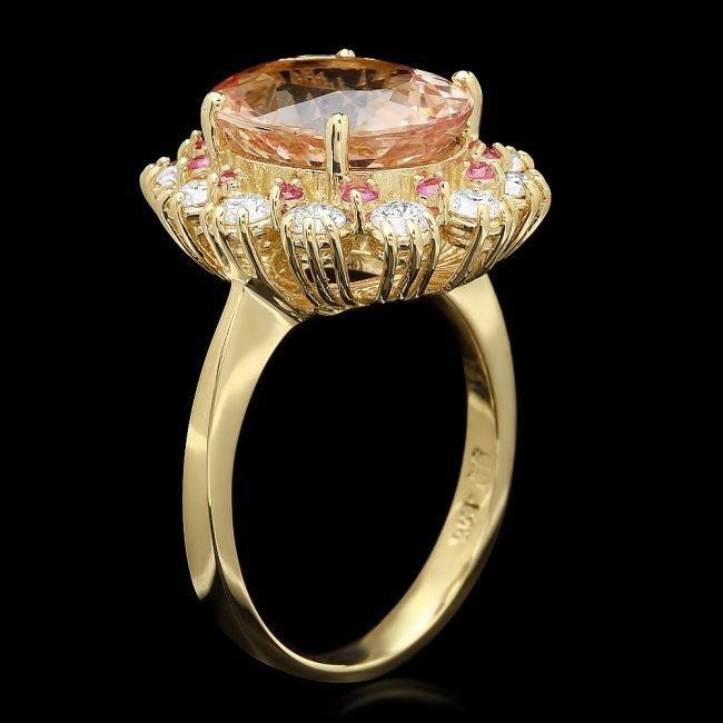14k Gold 4.70ct Morganite 1.00ct Diamond Ring - 2