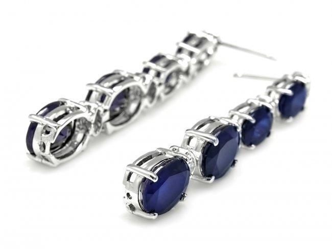 14k Gold 12.5ct Sapphire .35ct Diamond Earrings - 2