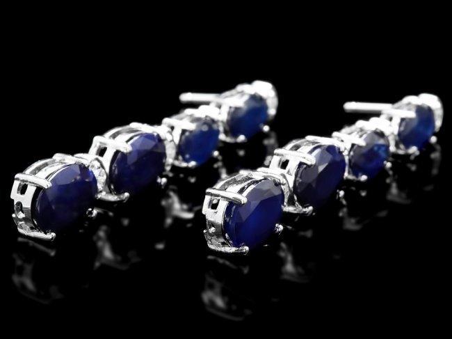14k Gold 12.5ct Sapphire .35ct Diamond Earrings - 3