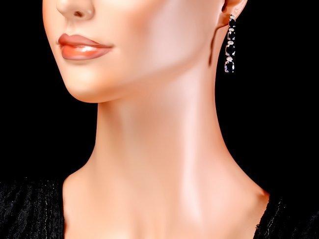 14k Gold 12.5ct Sapphire .35ct Diamond Earrings - 4