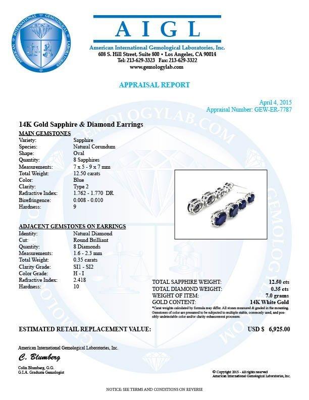 14k Gold 12.5ct Sapphire .35ct Diamond Earrings - 5