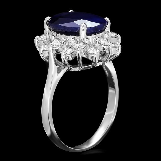 14k Gold 5.52ct Sapphire 0.90ct Diamond Ring - 2
