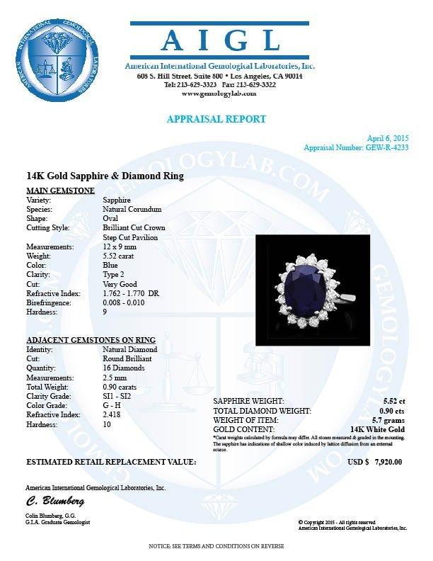 14k Gold 5.52ct Sapphire 0.90ct Diamond Ring - 4