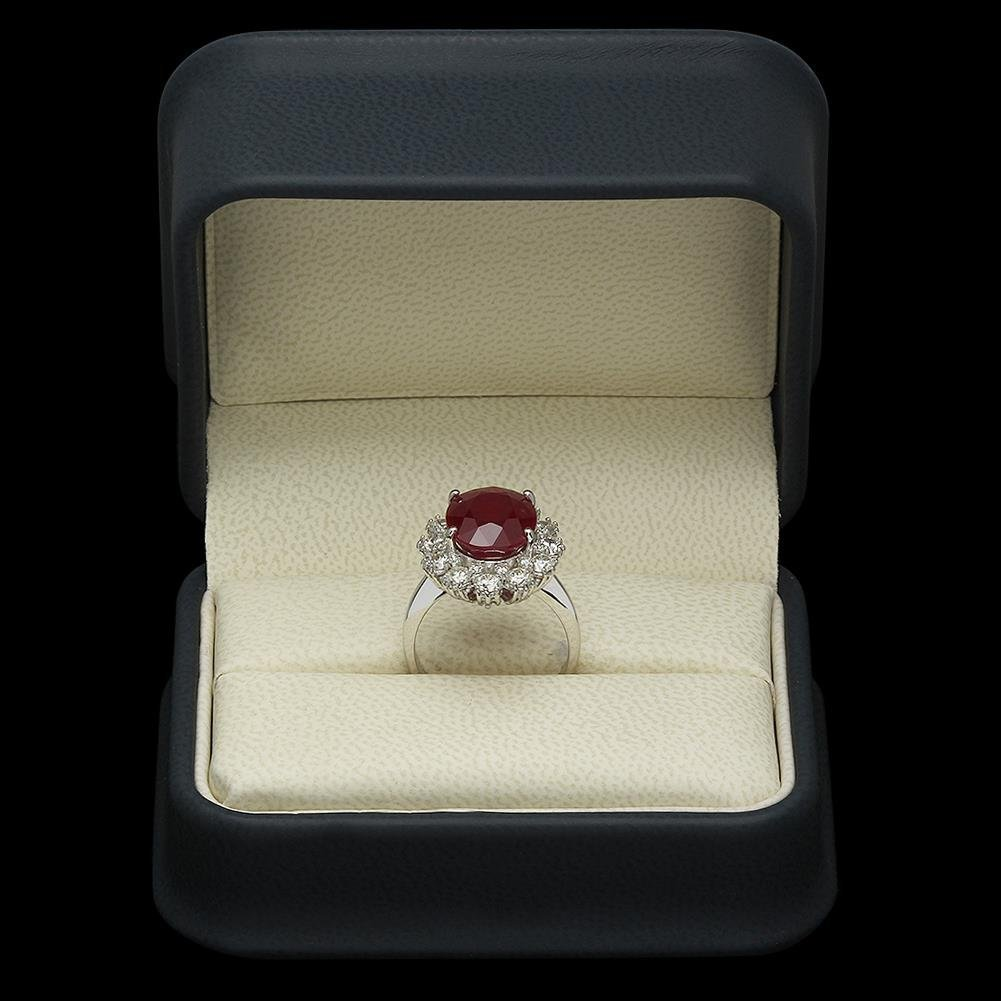 14K Gold 6.20ct Ruby 1.46ct Diamond Ring - 4