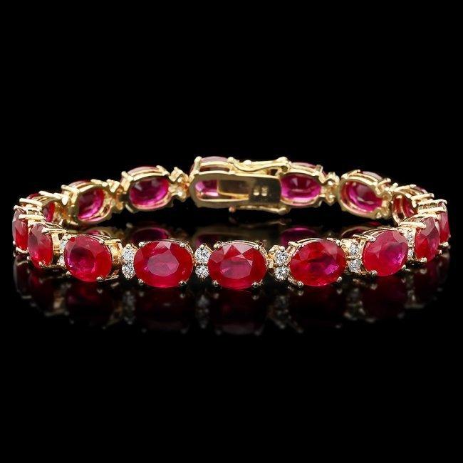 14k Gold 36.23ct Ruby 1.50ct Diamond Bracelet