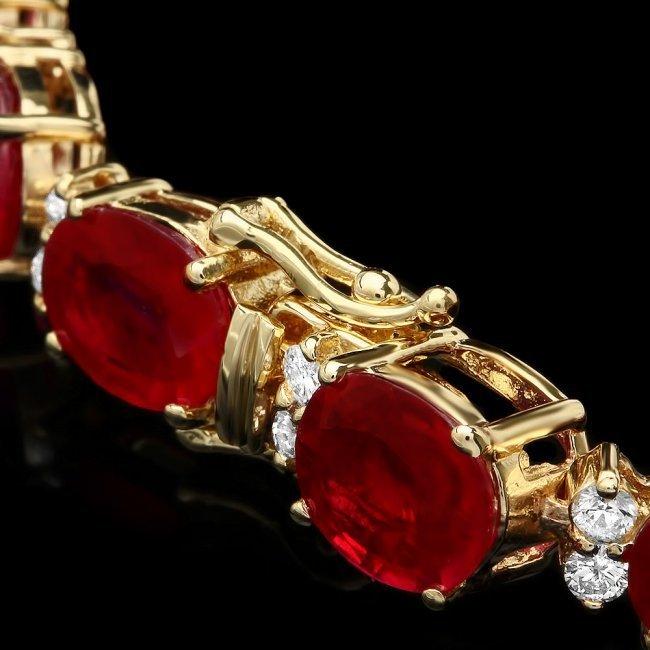 14k Gold 36.23ct Ruby 1.50ct Diamond Bracelet - 3
