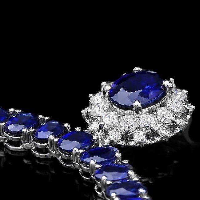 14k Gold 52.5ct Sapphire 1.50ct Diamond Necklace - 2