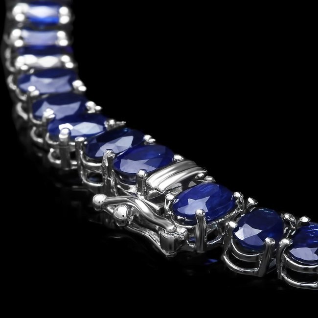 14k Gold 52.5ct Sapphire 1.50ct Diamond Necklace - 3