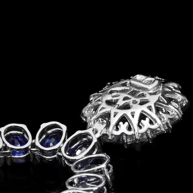 14k Gold 52.5ct Sapphire 1.50ct Diamond Necklace - 4