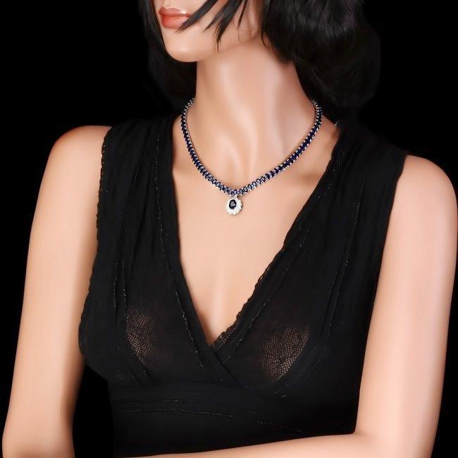 14k Gold 52.5ct Sapphire 1.50ct Diamond Necklace - 6